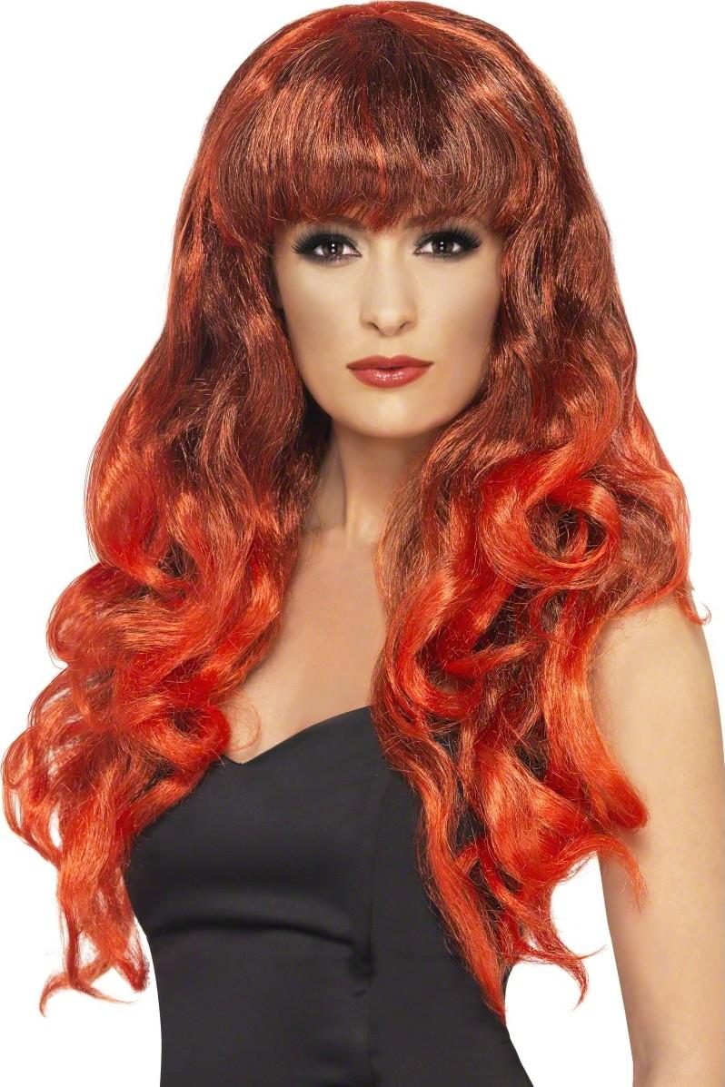 Perruque sirène bouclée rouge femme