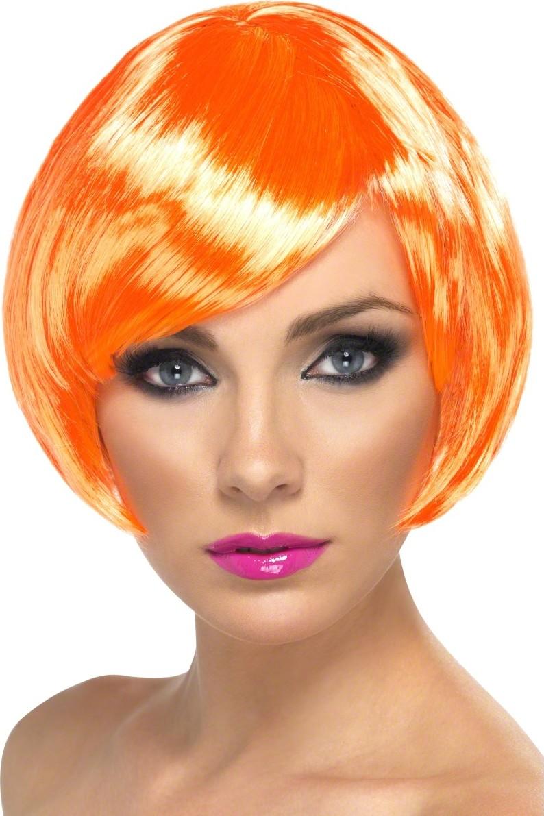 Perruque cabaret courte orange femme