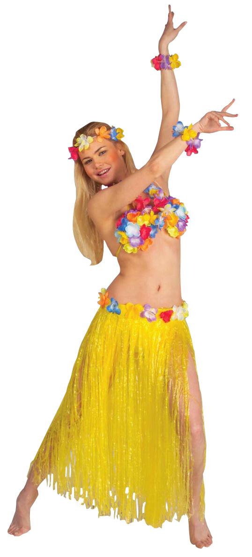 Set complet Hawaï jaune adulte