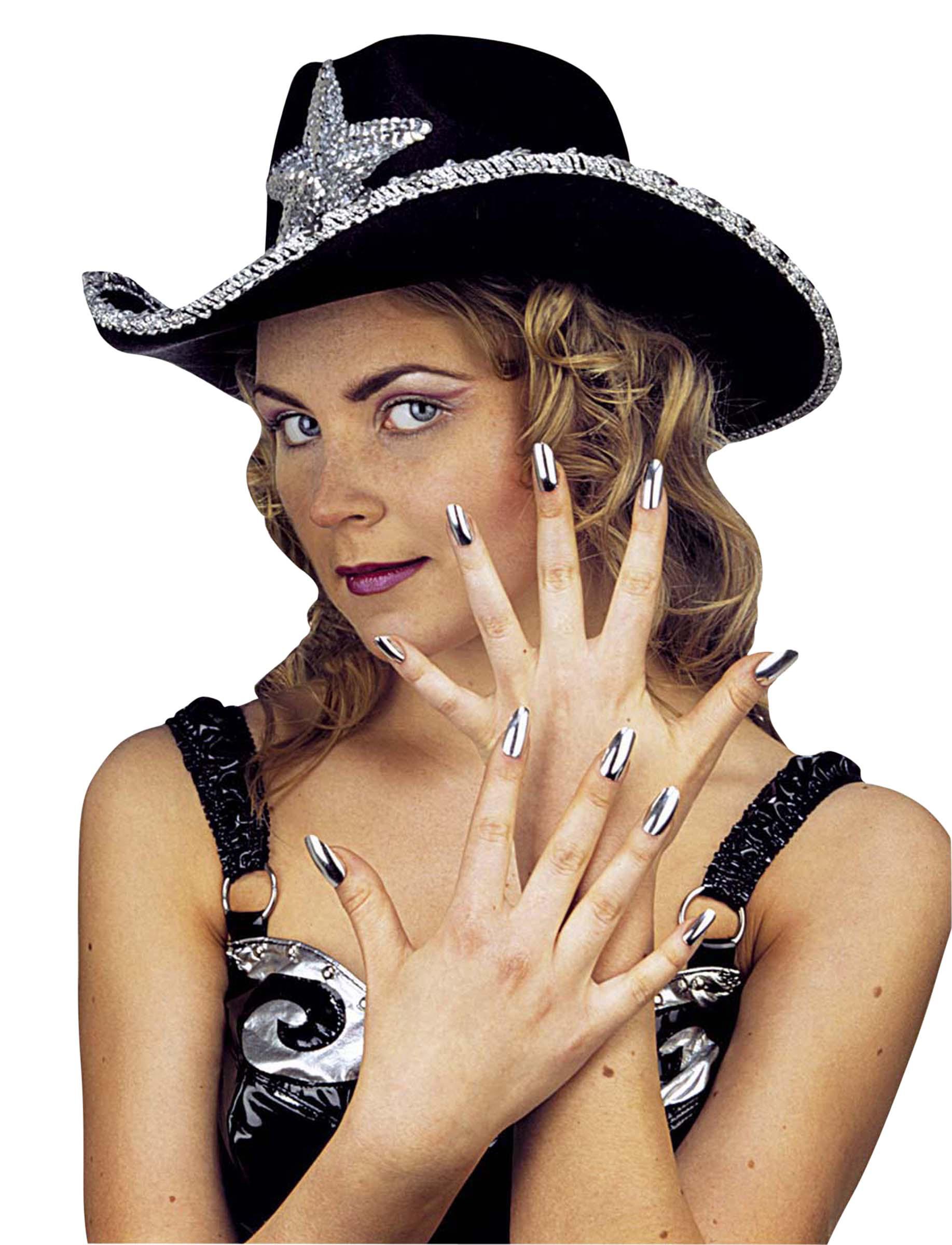 Kit de 15 faux ongles argent femme