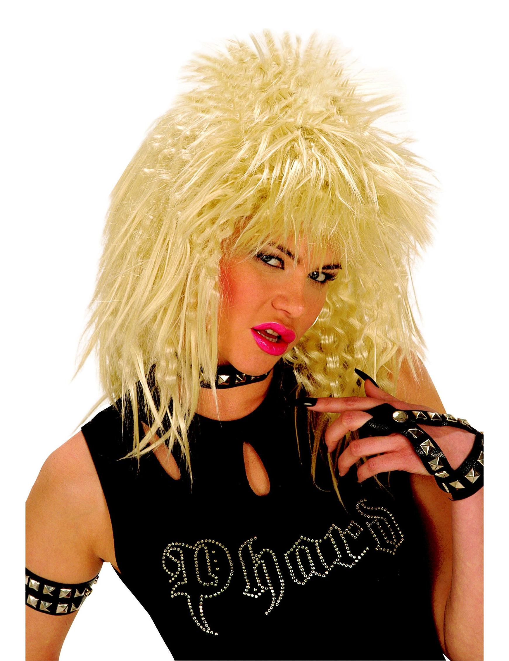 Perruque rock blonde adulte
