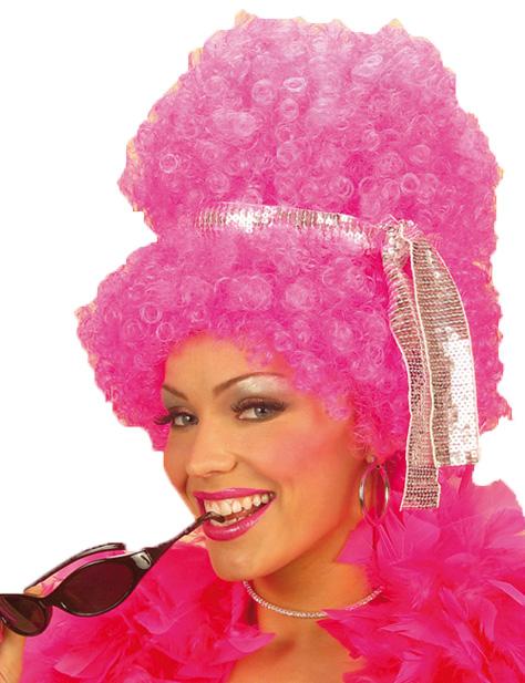Perruque rose fluo et lunettes disco femme