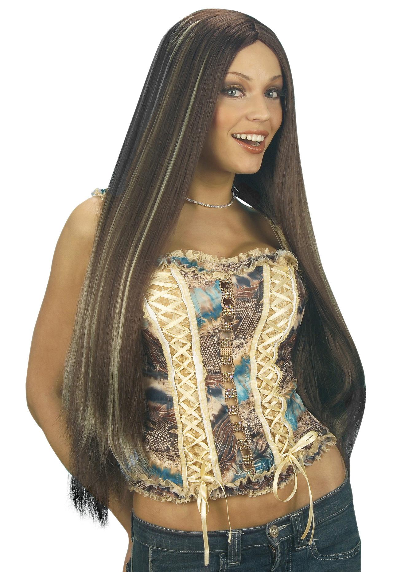 Perruque longue à mèches femme