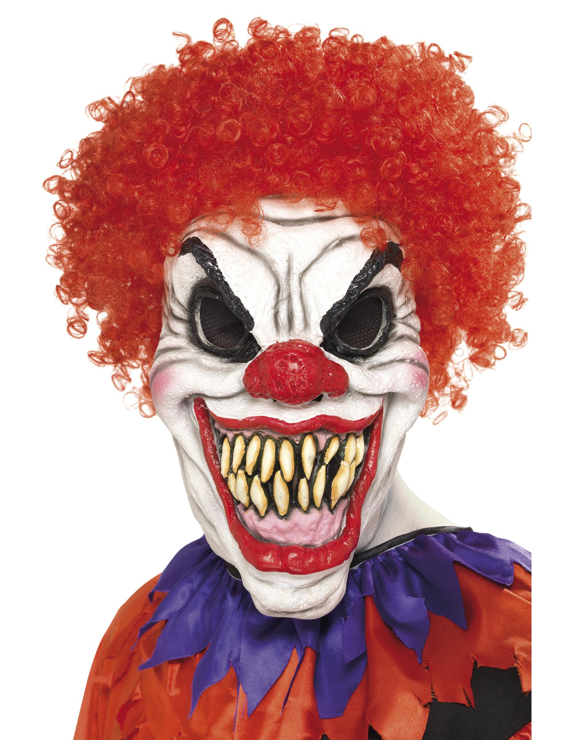 Masque clown cheveux rouges terrifiant adulte Halloween