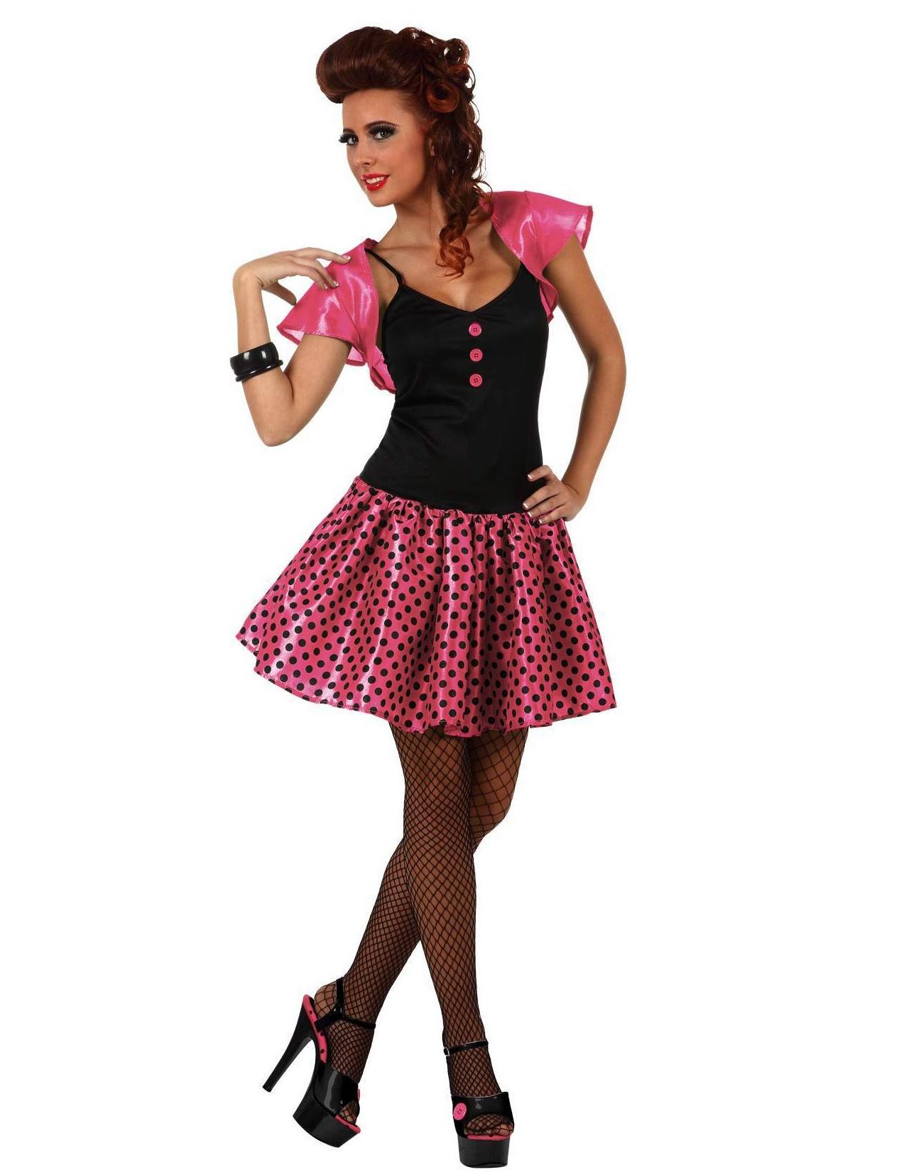 d guisement ann es 60 rose femme costume. Black Bedroom Furniture Sets. Home Design Ideas