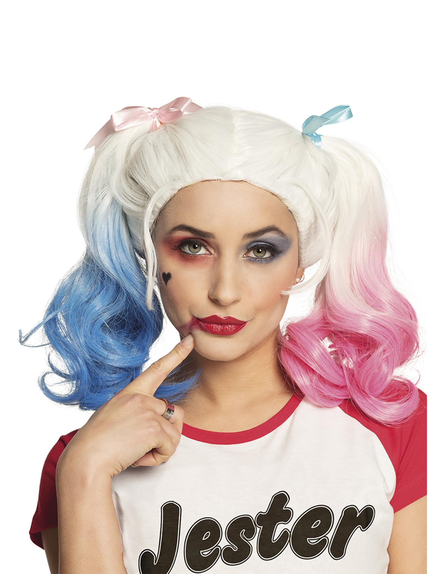 Perruque couettes rose et bleue femme
