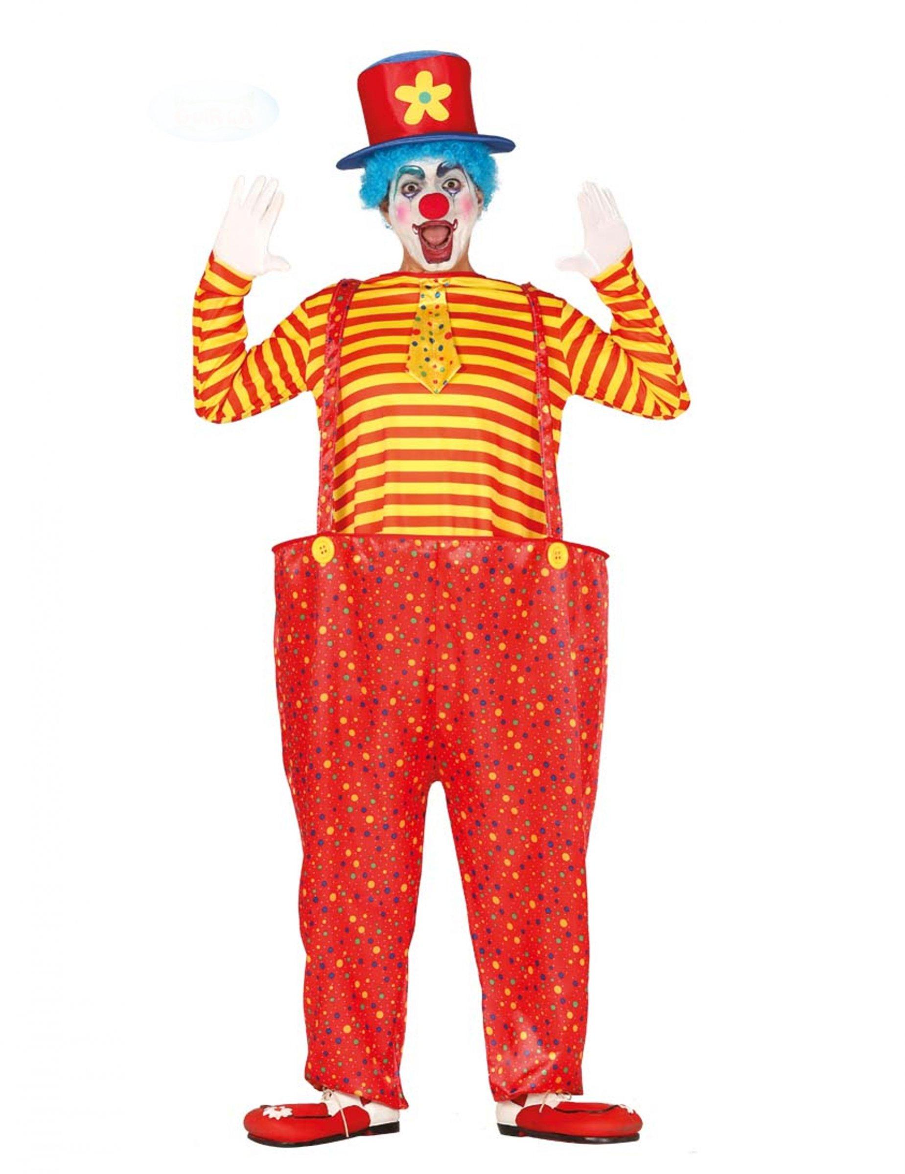 Déguisement clown rigolo multicolore homme