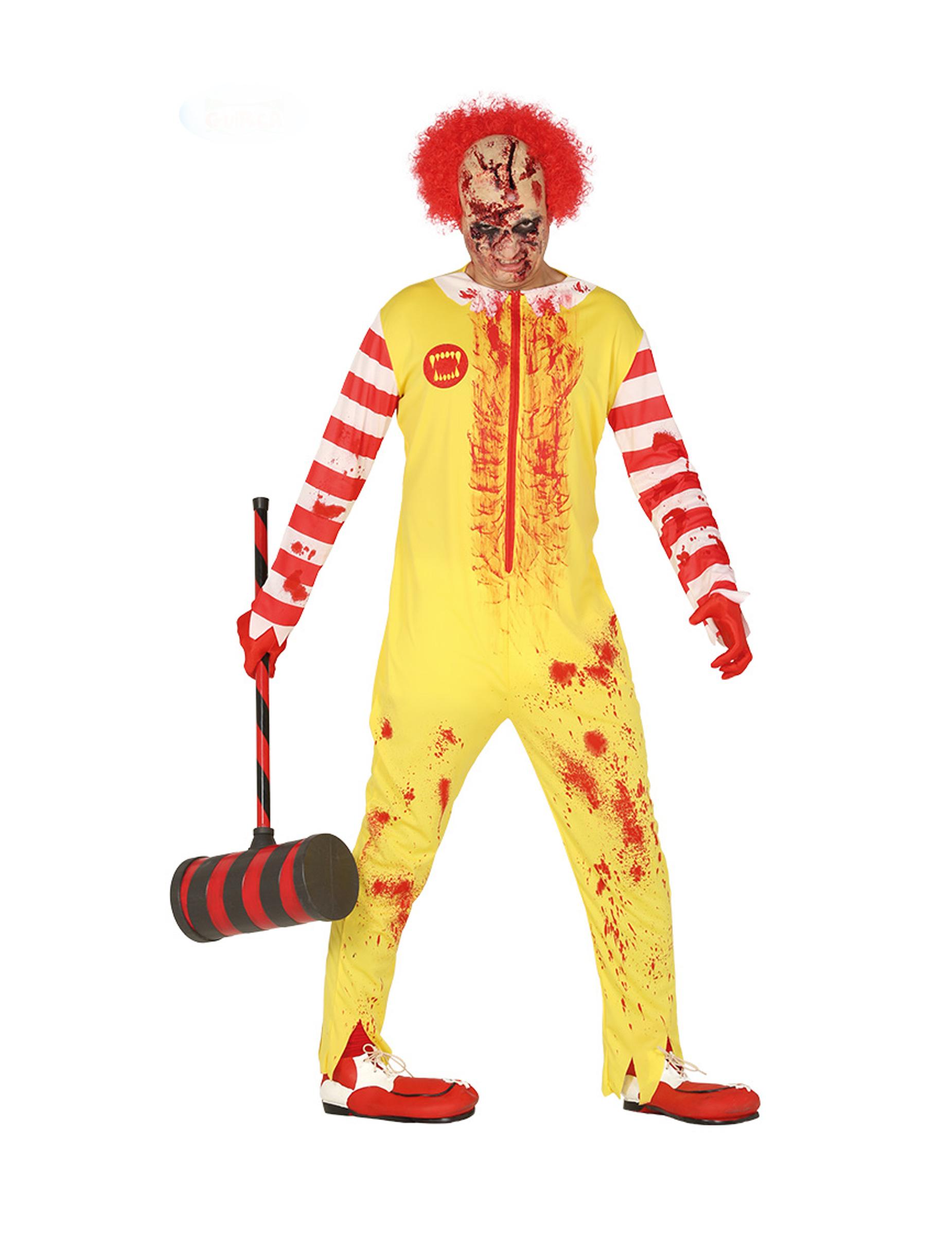 Déguisement clown zombie rouge et jaune adulte