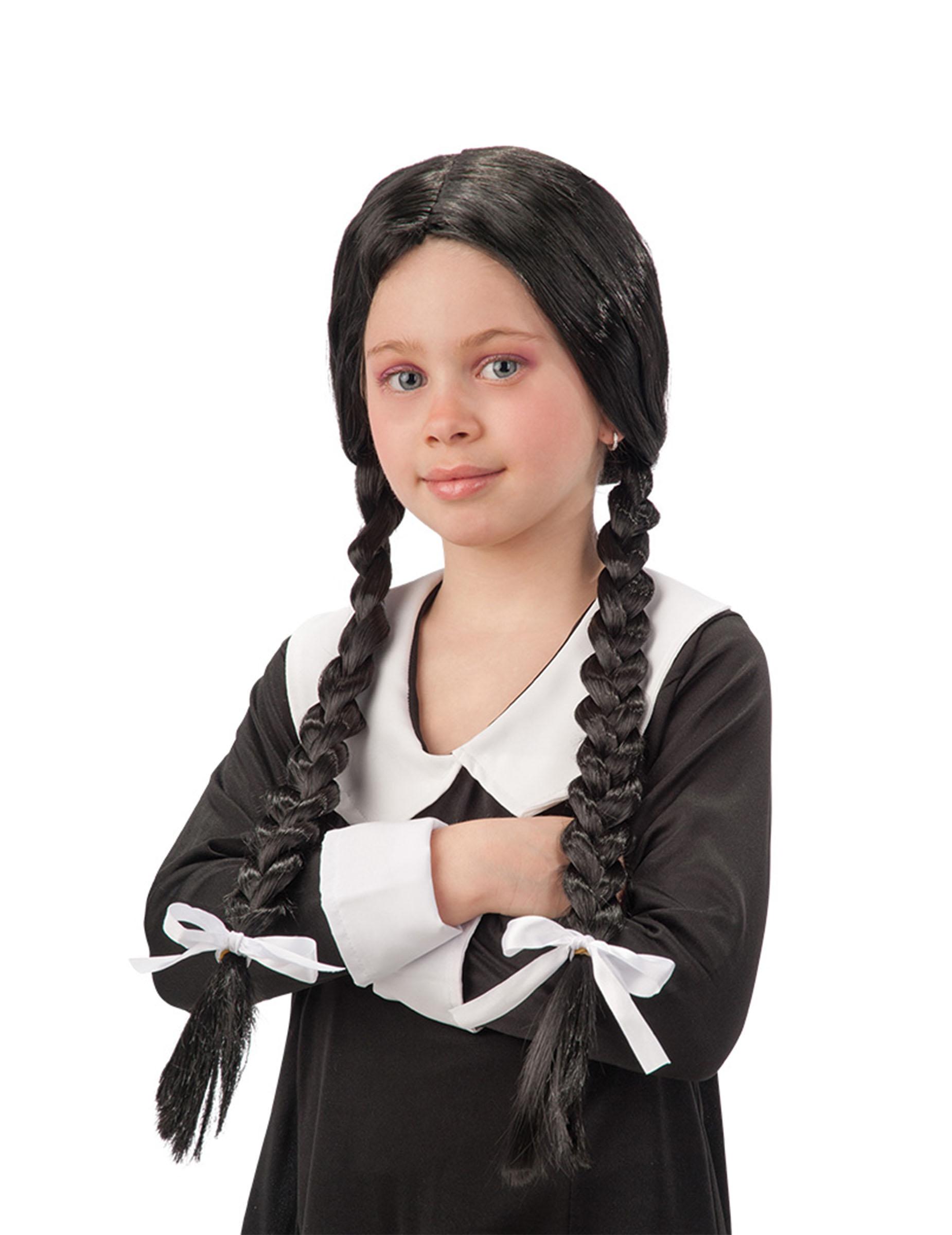Perruque noire avec tresses écolière fille