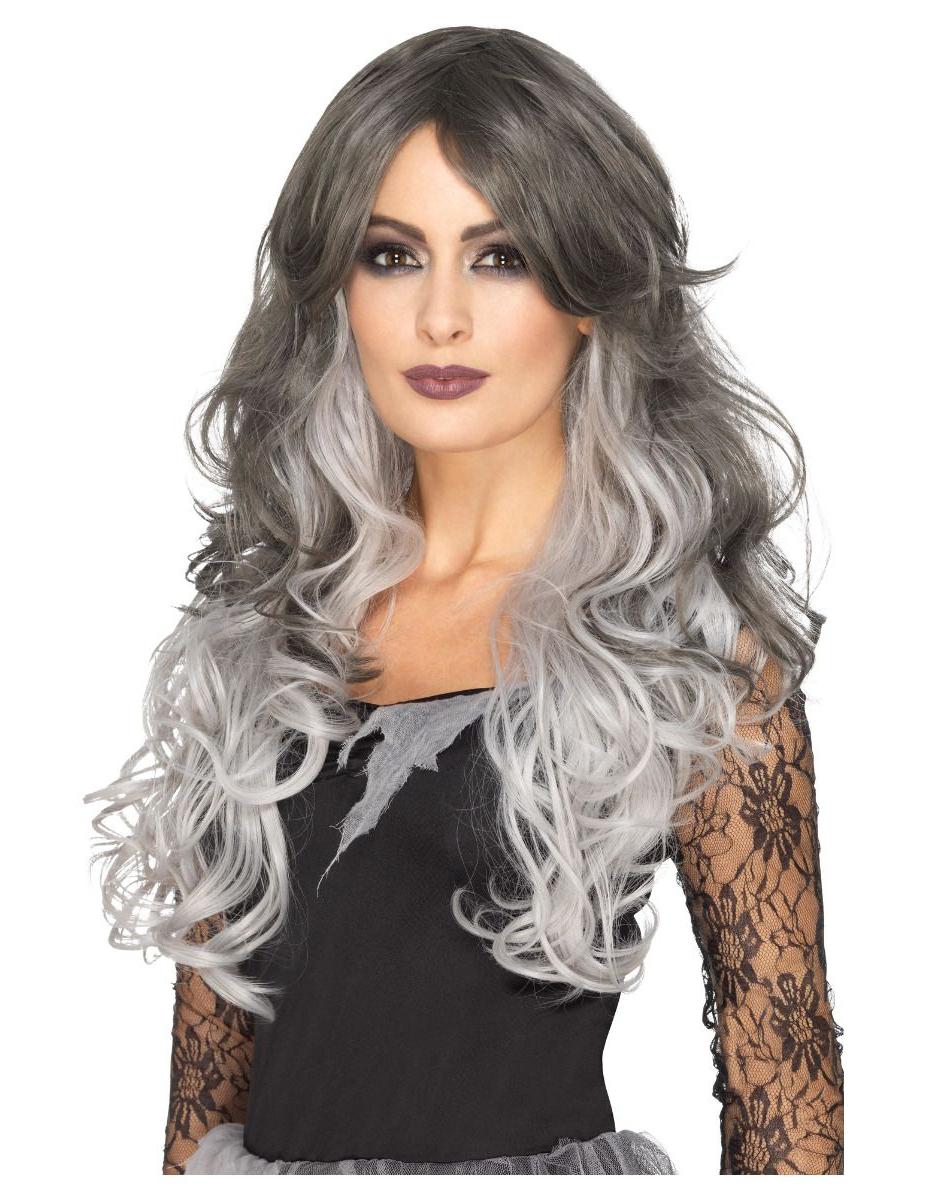 Perruque recoiffable longue deluxe grise femme