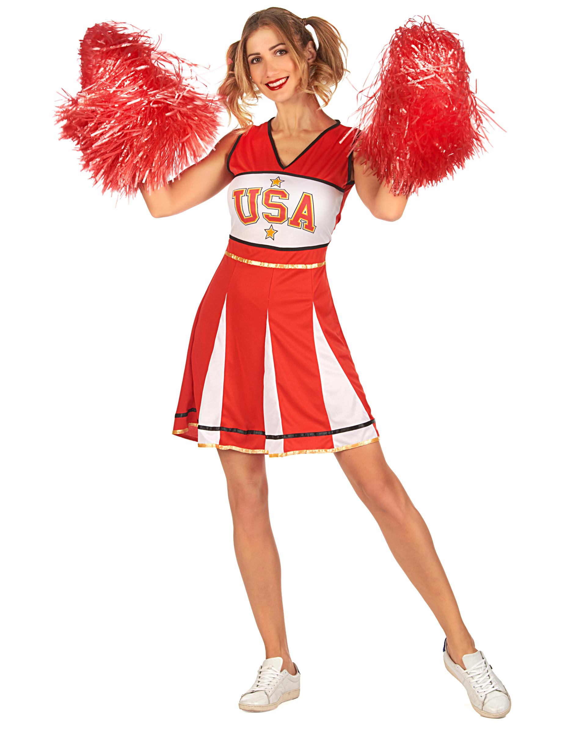 Déguisement pompom girl USA rouge femme
