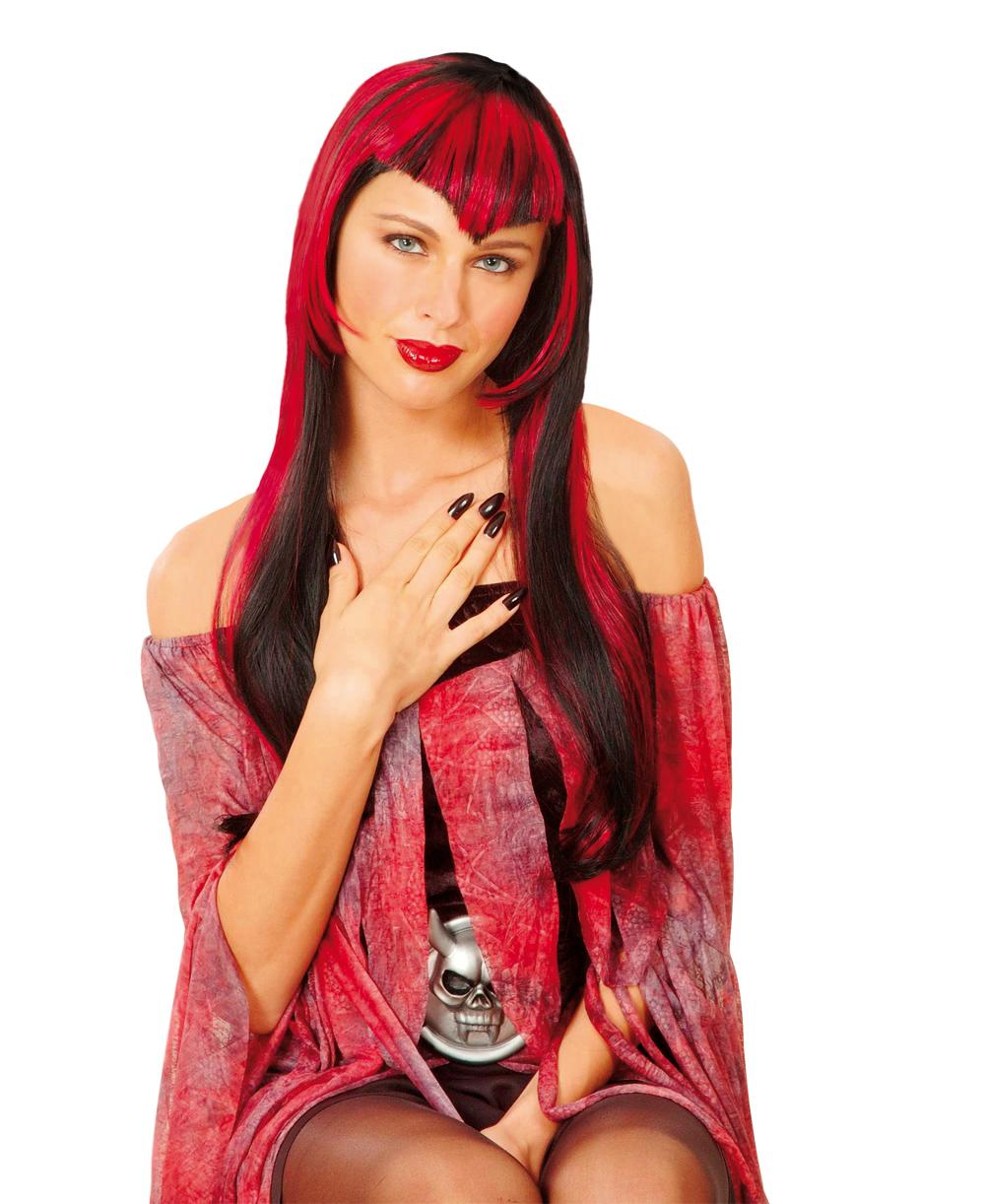 Perruque vampire mèche rouge femme