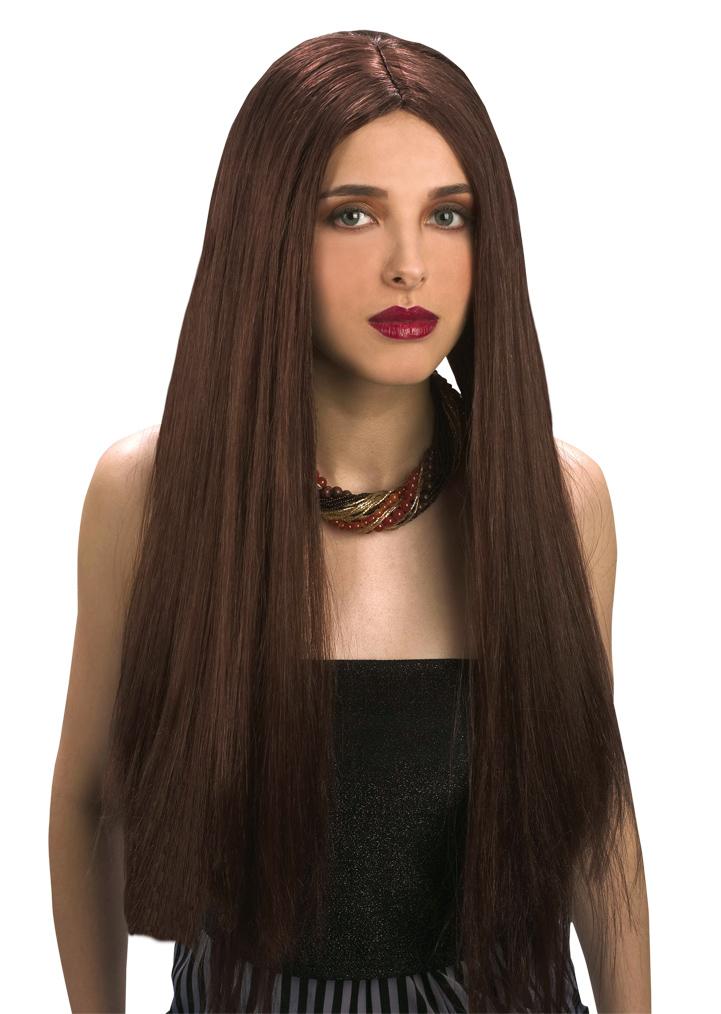 Perruque longue châtain femme 60 cm