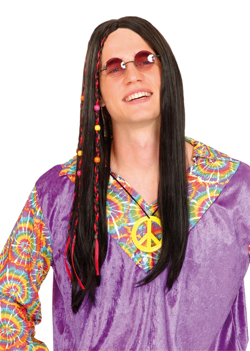 Perruque hippie noire homme