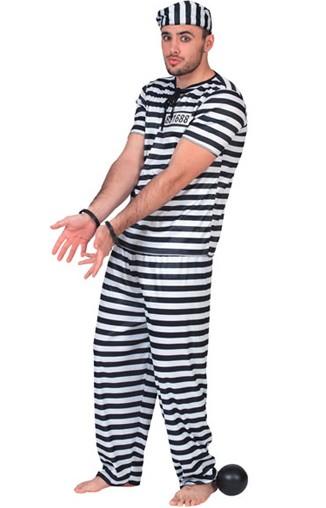 Déguisement prisonnier noir et blanc homme