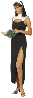 Déguisement nonne sexy robe fendue femme