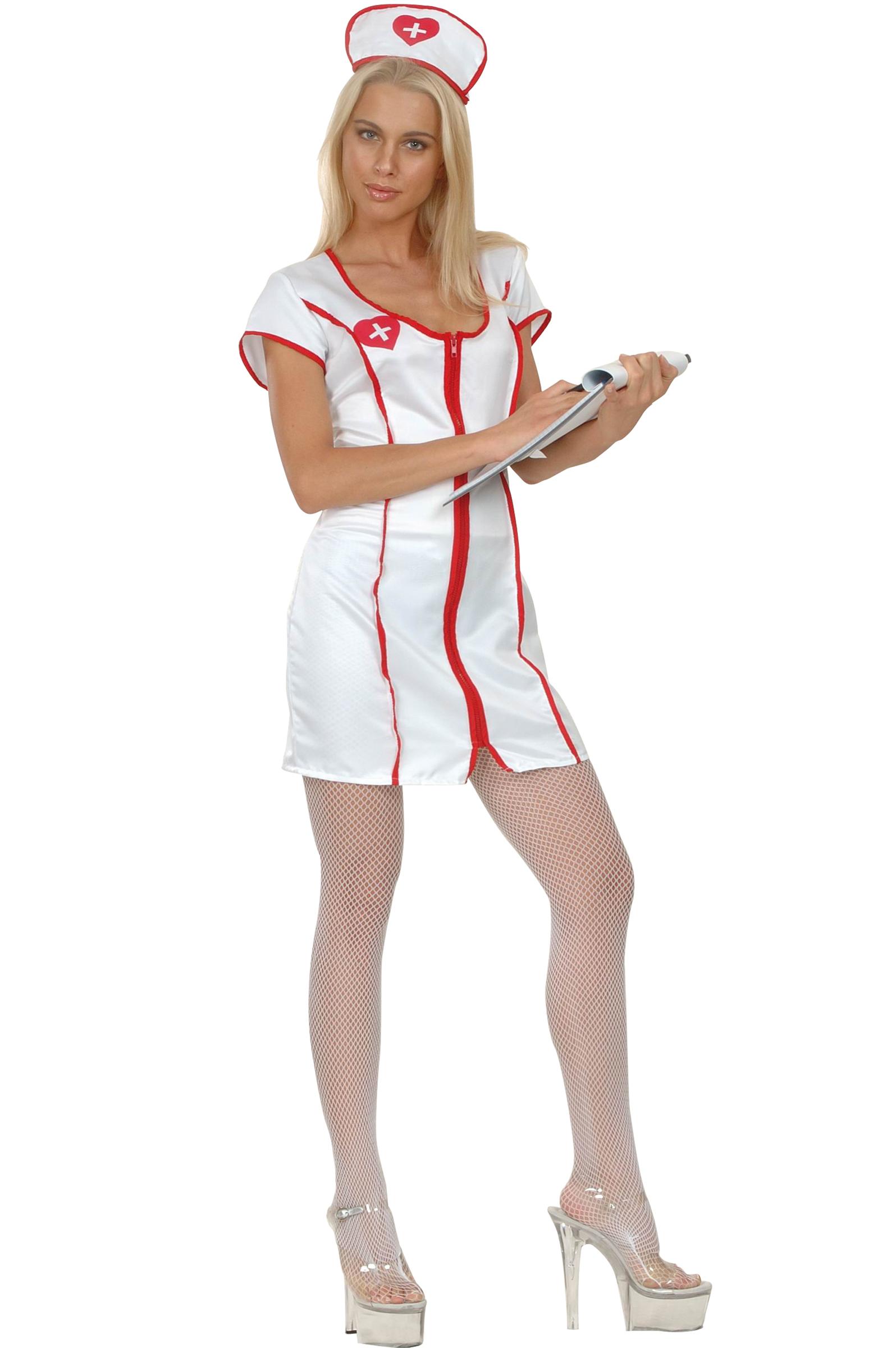 Déguisement infirmière sexy effet satiné femme