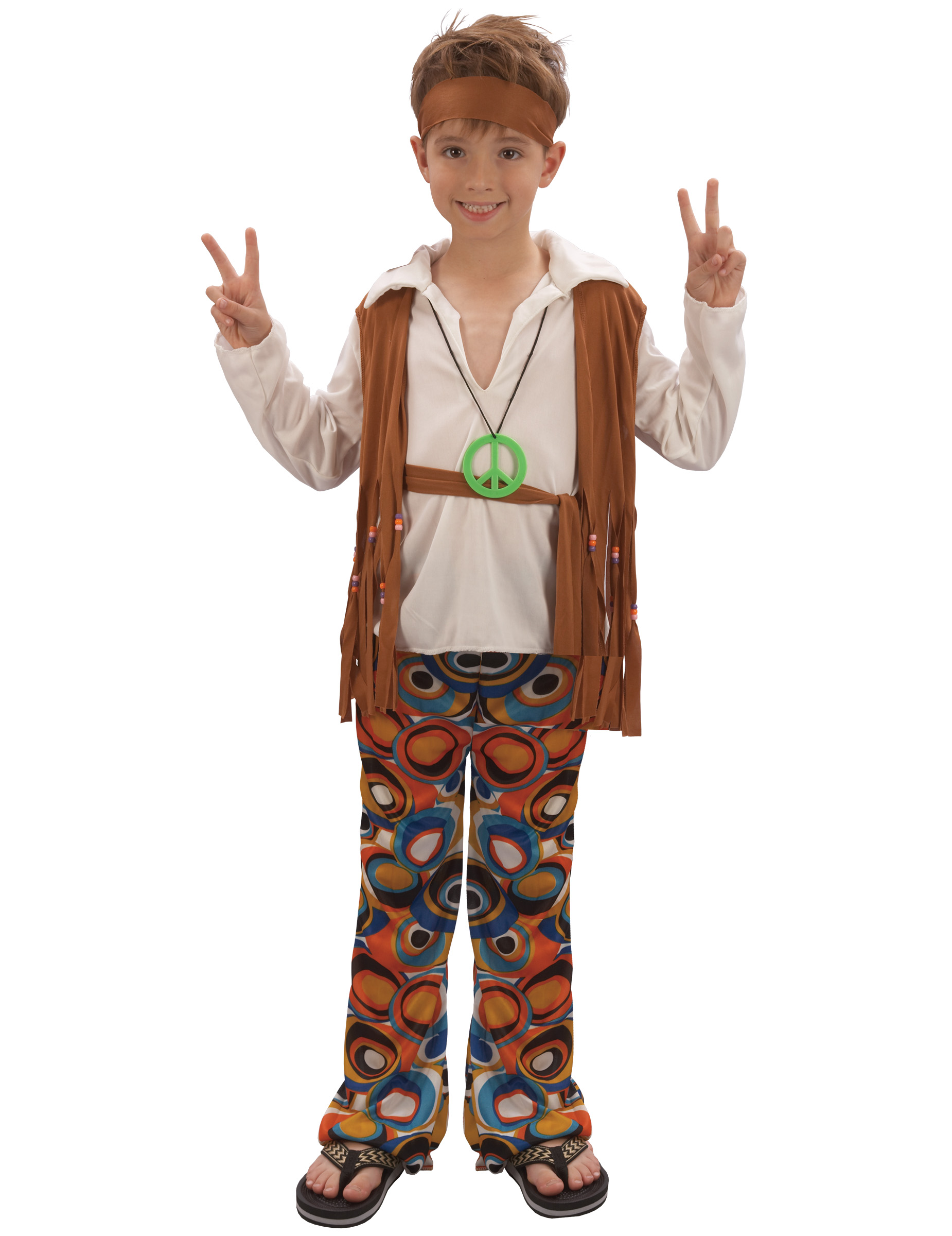 Déguisement hippie marron garçon
