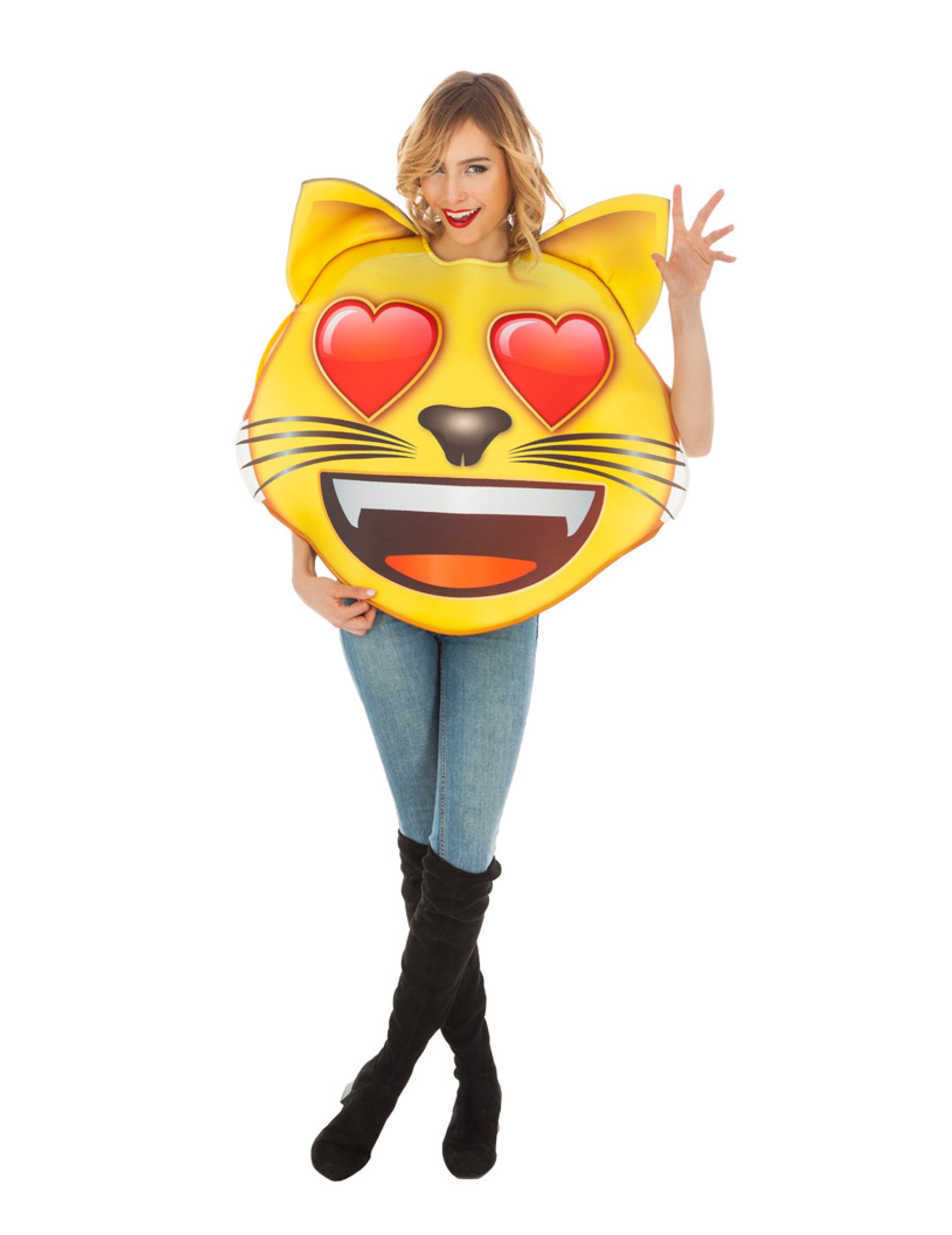 Déguisement Emoji Chat coeur adulte