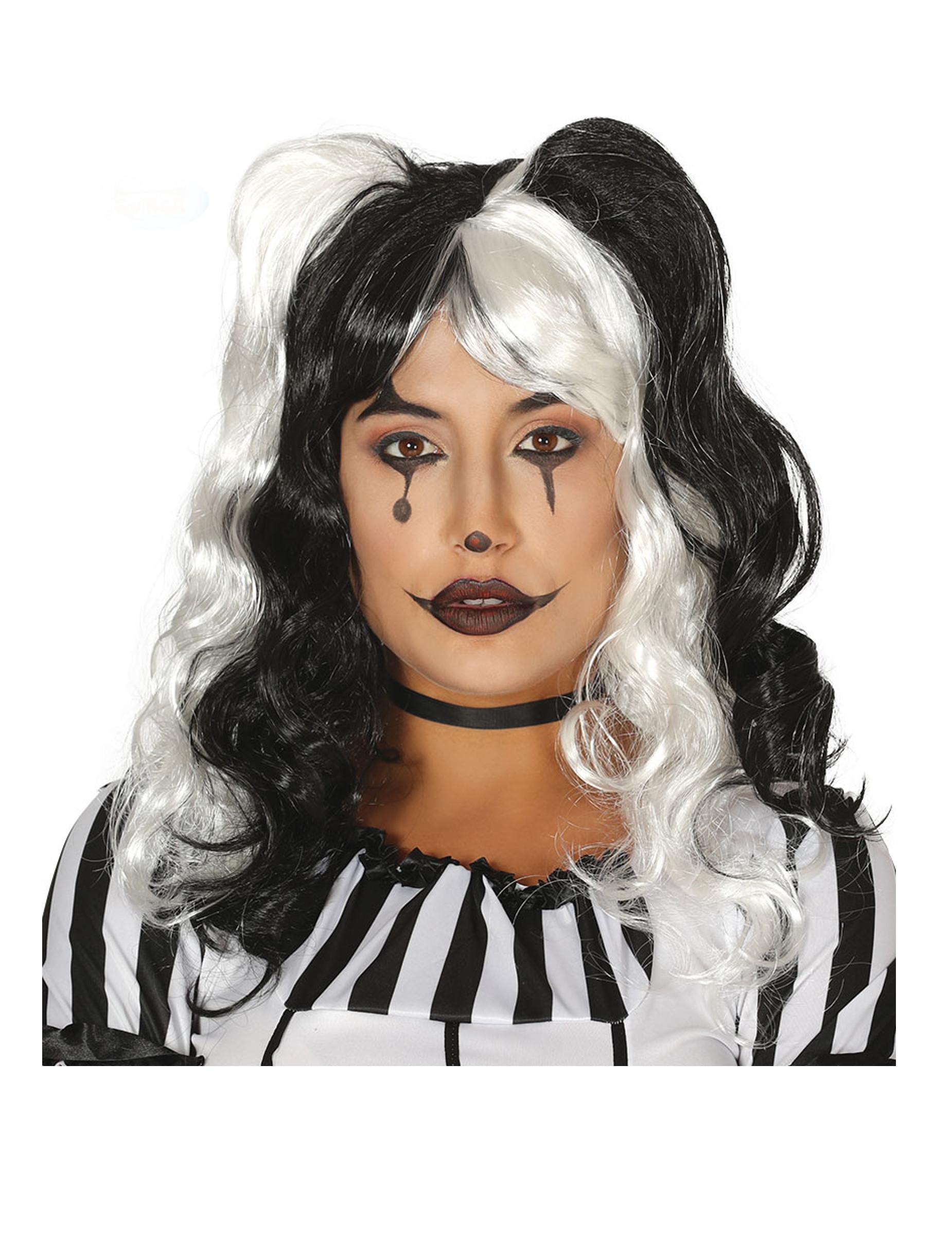 Perruque arlequin couettes noires et blanches femme