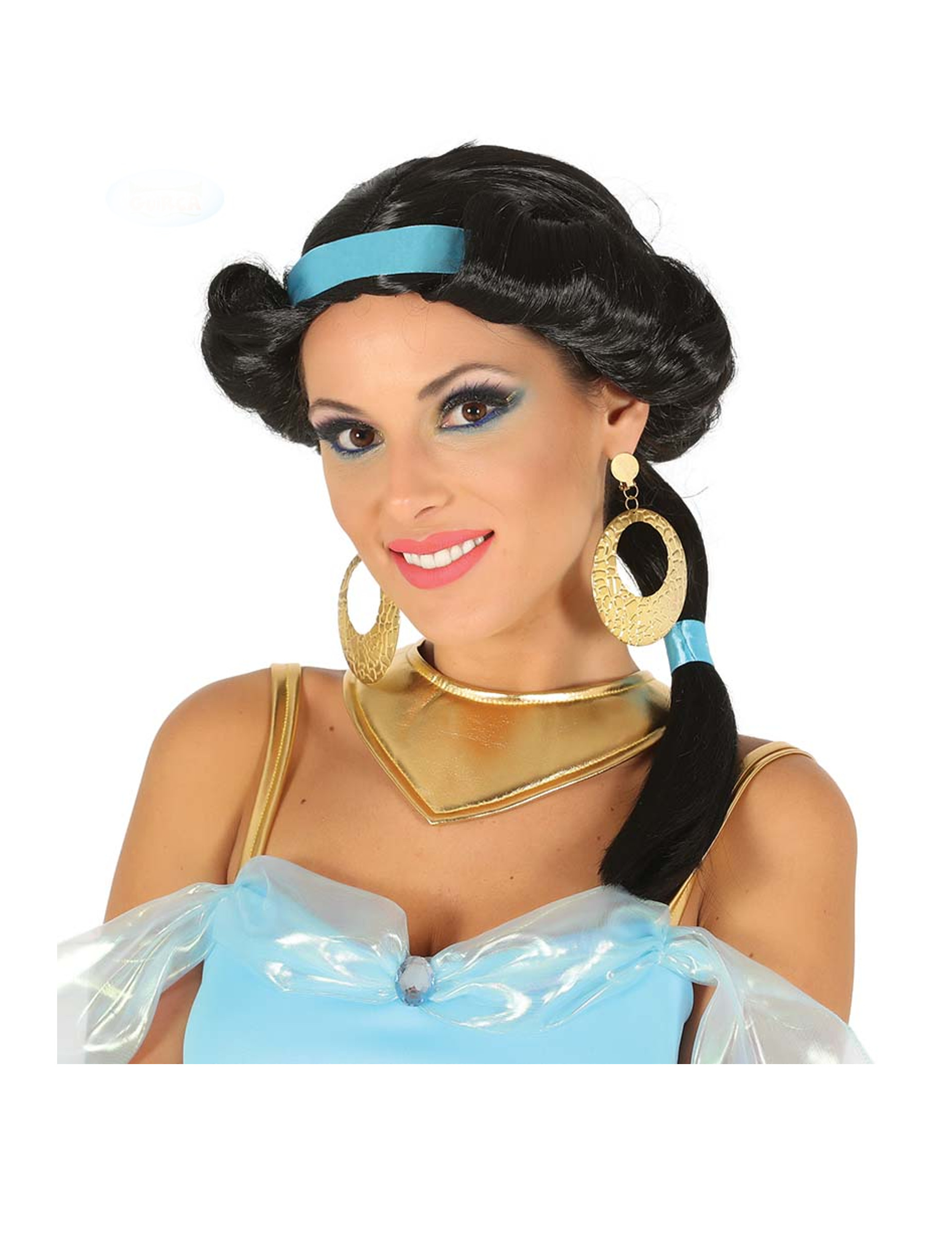 Perruque noire princesse du désert avec bandeau bleu femme