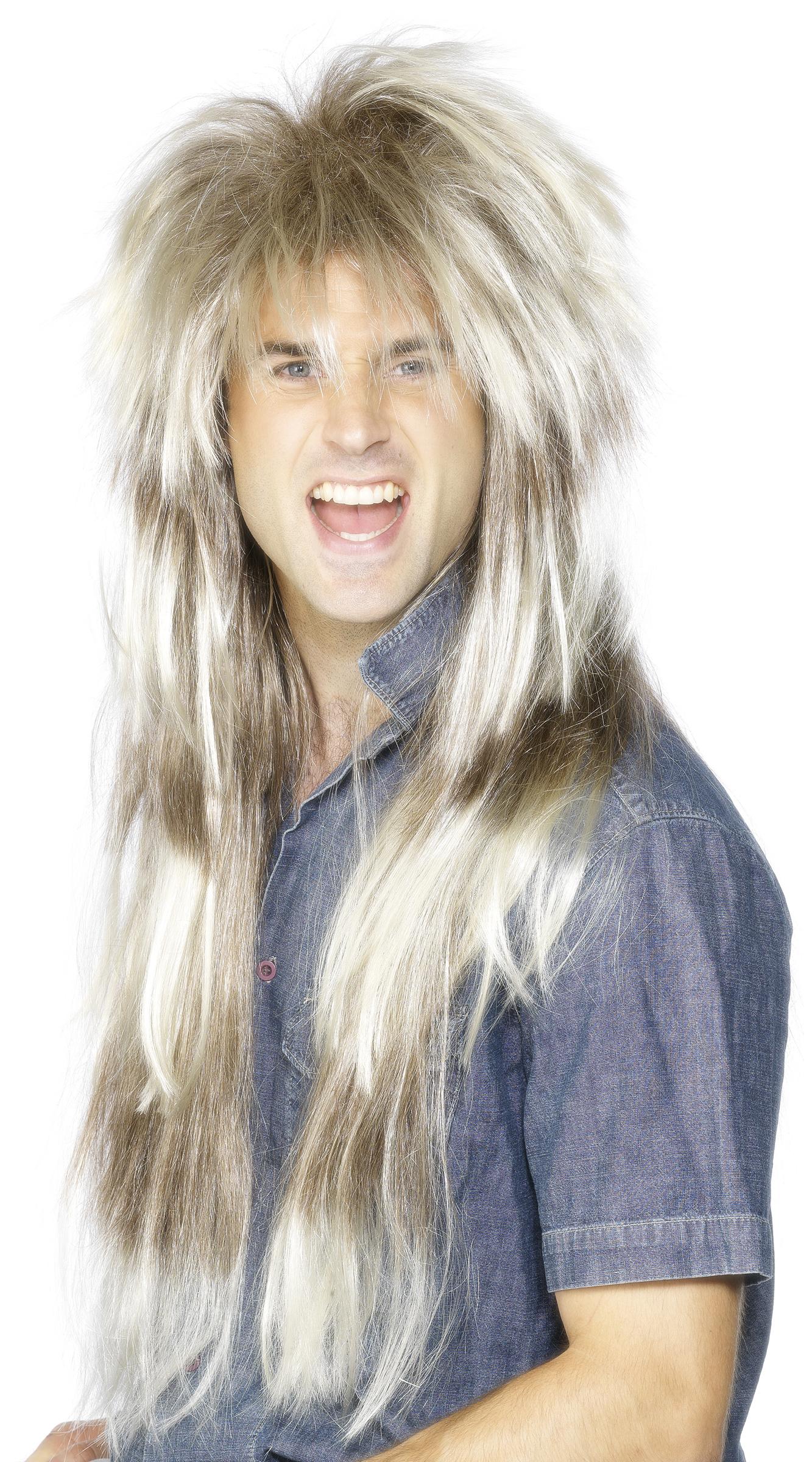 Perruque longue blonde homme